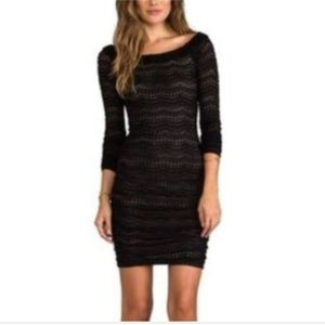 Black Nude Small HALLE Ruched Lace Tight Dress